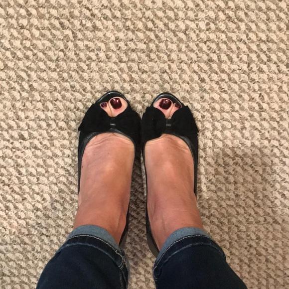 7e9436856a White House Black Market Shoes | Black Leather Peep Toes | Poshmark